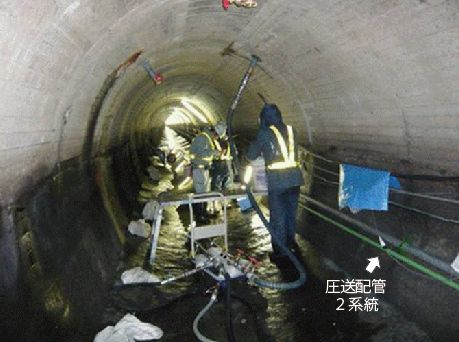 導水路トンネルの断面修復